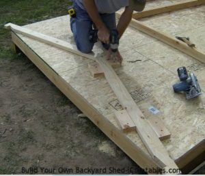 shed floor building rafter assembly